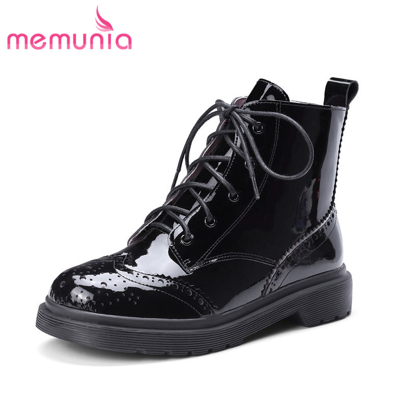 MEMUNIA 2018 hot sale genuine leather boots women fashion club ankle boots lace up autumn winter boots low heels shoes woman цена