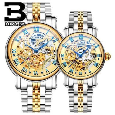 Binger Lovers Vintage Steel Wristband Round Dial Wrist Watch Switzerland Men Women Couple Watch Simple Elegant