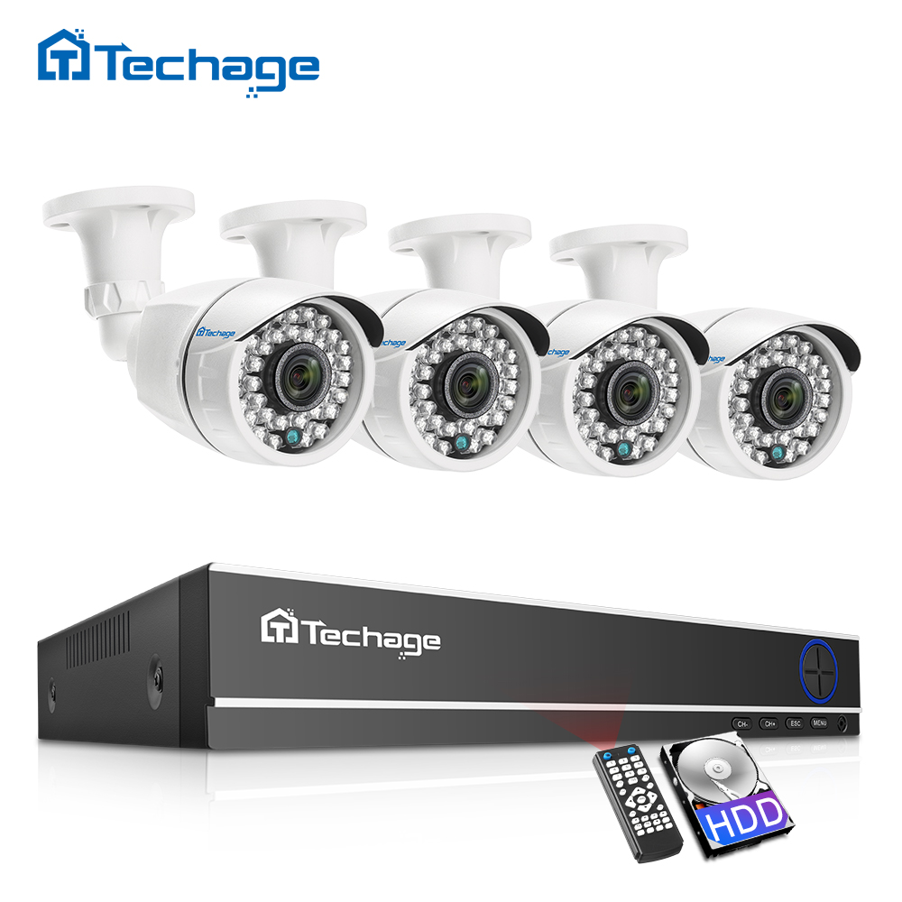 Techage CCTV Camera System 4CH 1080P AHD Security Camera DVR Kit IP66 Waterproof Outdoor Home Video