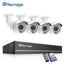 Sistema de cámara CCTV Techage 4CH 1080P 2MP Cámara DE SEGURIDAD AHD DVR Kit IP66 impermeable al aire libre hogar Video vigilancia Set 1TB HDD