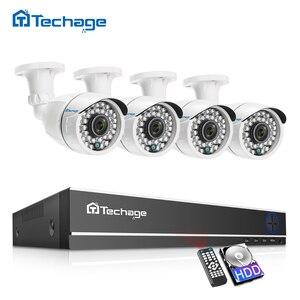 Image 1 - Techage CCTV камера система 4CH 1080P 2MP AHD камера безопасности DVR комплект IP66 водонепроницаемый открытый домашний комплект видеонаблюдения 1 ТБ HDD