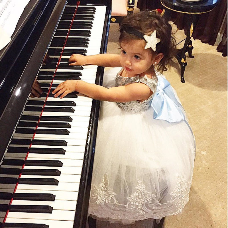 Princess Baby Girl Bowknot Lace Floral Dress Christmas Party Dresses Toddler Kids Sequins Ball Gown Child Dress