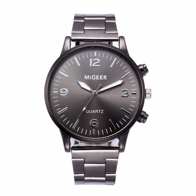 Homens Da Moda Relógio de Aço Inoxidável de Cristal 1 MIGEER pc balança Digital blue black dial Analog de Quartzo Relógio de Pulso Pulseira de prata a80