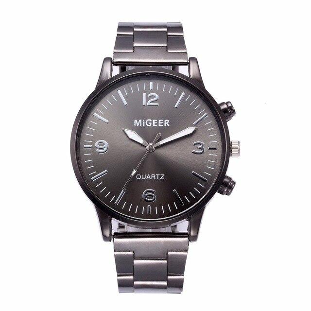 MIGEER Fashion Men Crystal Stainless Steel Watch 1PC Digital scale blue black silver dial Analog Quartz Wrist Watch Bracelet a80