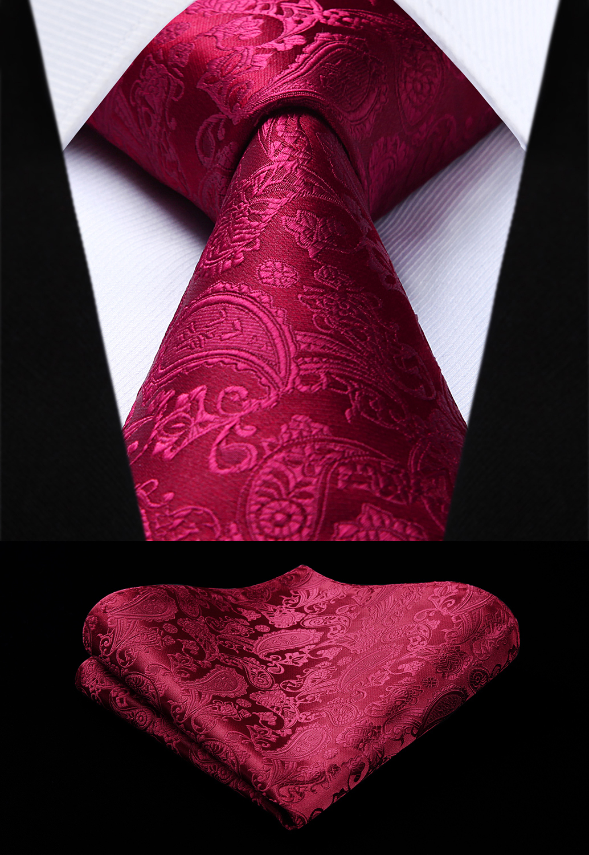 Party Wedding Classic Fashion Pocket Square Tie Woven Men Burgundy Tie Paisley Necktie Handkerchief Set#TP711U8S