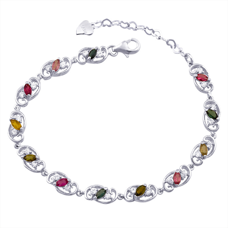 Natural Tourmaline Bracelet s925 Sterling silver Link fashion tennis Chain gem Womens Jewelry Luxury Birthay Gift sb0002tm