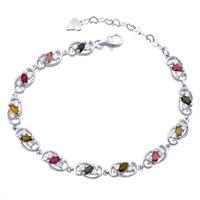 Natural Tourmaline Bracelet s925 Sterling silver Link fashion tennis Chain gem Women's Jewelry Luxury Birthay Gift sb0002tm