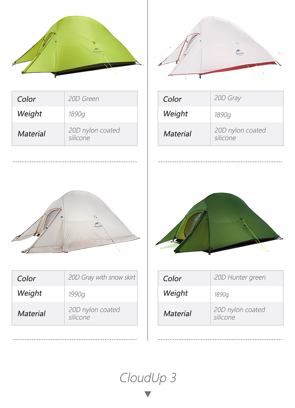 Ultralight Camping Tent Waterproof Outdoor Hiking Tent 20D Nylon Backpacking Tent With Free Mat
