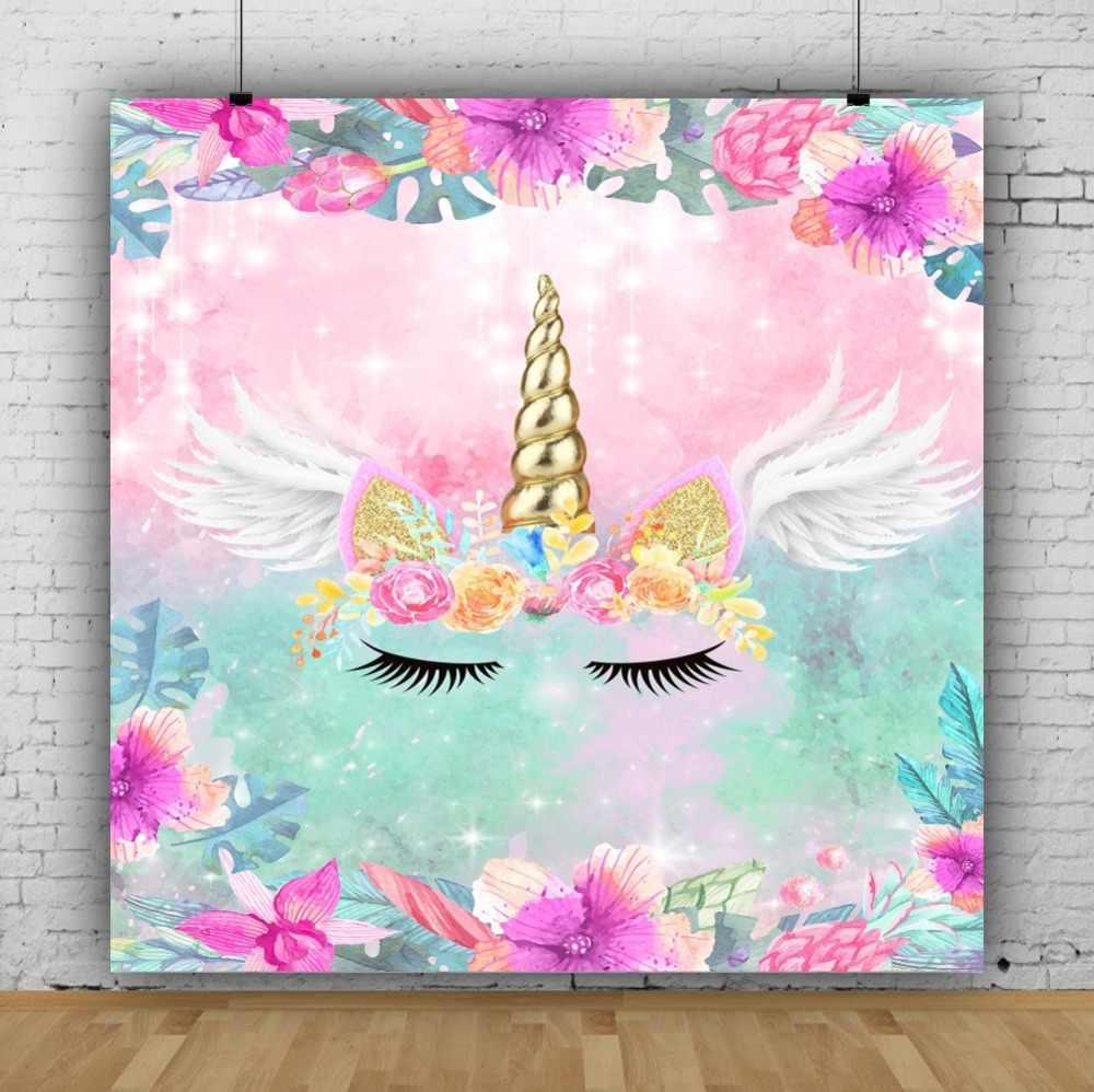 Laeacco Единорог фоны для фотосъемки день рождения ребенка Золотой Кукуруза крыло цветы блестящая Звезда фото фоны фотостудия