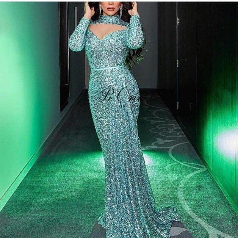 Peorchidée Sexy Sequin robe de soirée dubaï arabe Vestido Fiesta Largo 2019 formelle longue robe paillettes robe de soirée avec manches