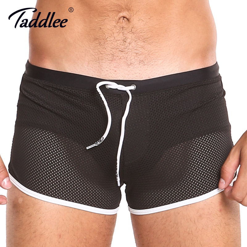 Taddlee Brand   Board     Shorts   Boxer Trunks Swimwear Men Swimsuits Beach   Shorts   Black Solid Plus Size Quick Drying Gay Mesh Boxers
