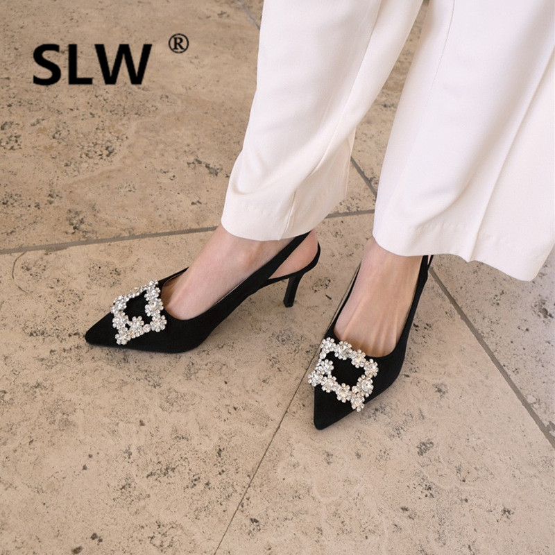 Rubber Single Cusp Shoe Buckle Strap Flock Cut Out Spring Sexy Shallow Pumps Korean Style Sandals High PU Block Heel Shoes