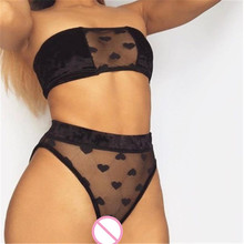 Hot Sale Fashion New Sexy Mesh Sheer Bra Set Underwear Women Girls Wireless Lace Printed Ruffle Heart Lingerie Briefs