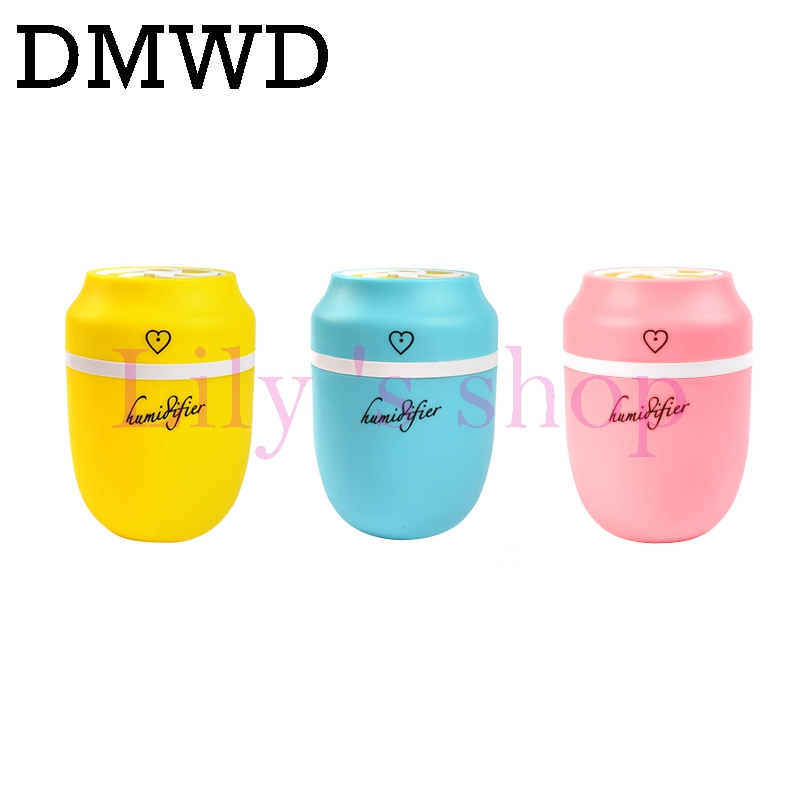 DMWD MINI Ultrasonic Humidifier Luminous Cup USB Aroma Diffuser Portable Mist Maker Air Purifier Colorful LED Night Light 220ML