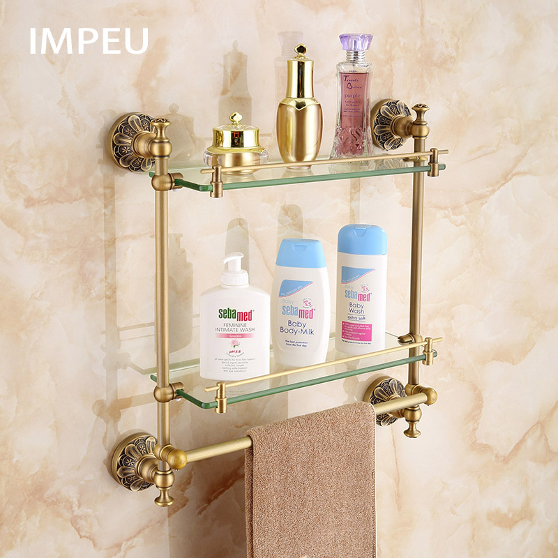 Double Bathroom Glass Shelf with Towel Bar Lavatory Two Tiers Tempered Glass Wall Mounted Shelf Antique