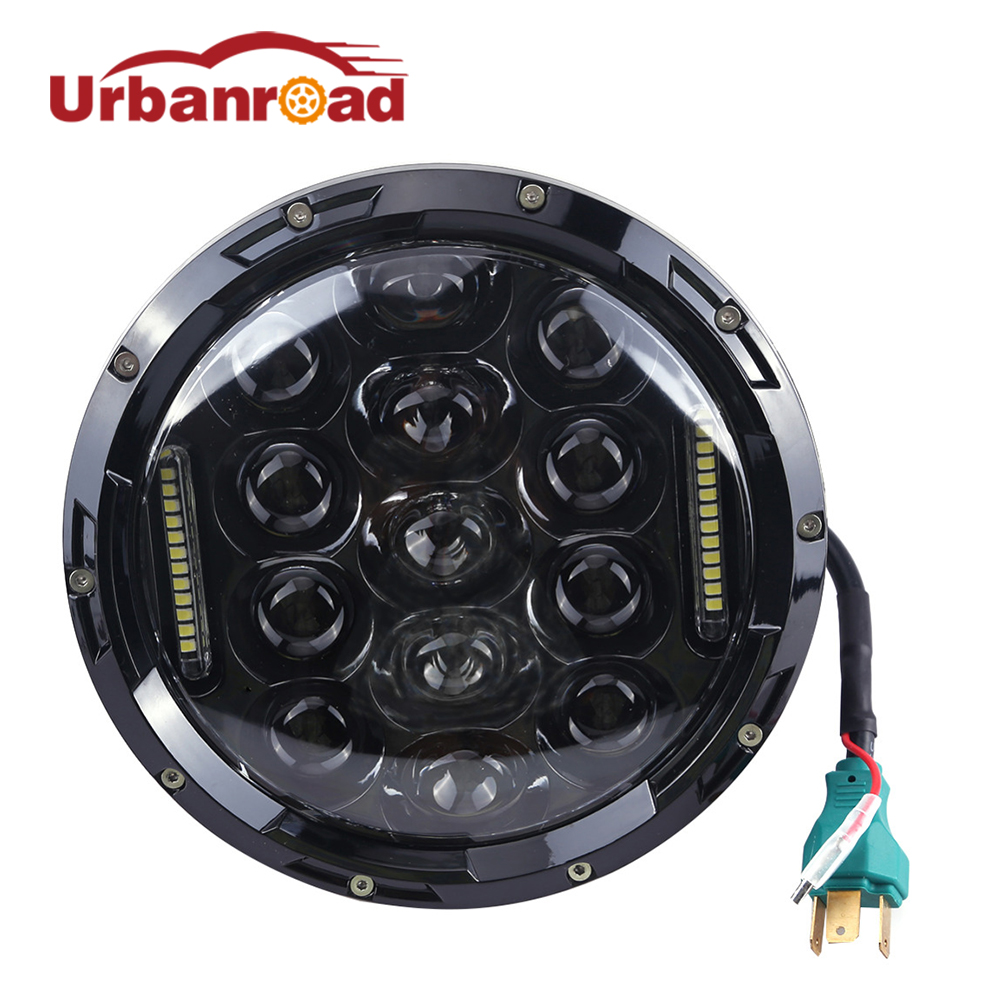 75w 7 headlight motorcycle black high low beam 7inch Round daymaker led Head light head  ...