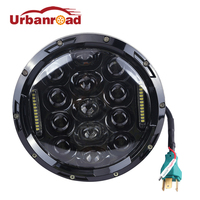 75w 7 Headlight Motorcycle Black High Low Beam 7inch Round Daymaker Led Head Light Head Lamp
