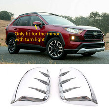For Toyota RAV4 Mirror Cover Trim 2019 2020 Silver ABS Chrome Exterior Modified Cap Frame 2pcs Rearview Styling(China)