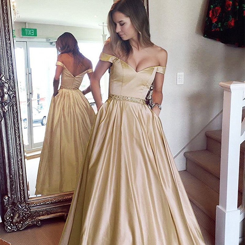 Beauty Emily 2019 New Long Off The Shoulder   Evening     Dresses   V Neck Sleeveless Party Gowns Rhinestone Draped Open Back Prom   Dress