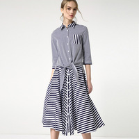 New arrival 2018 spring fashion women striped bow tie shirts half sleeve color block + a-line skirts elegant two piece set