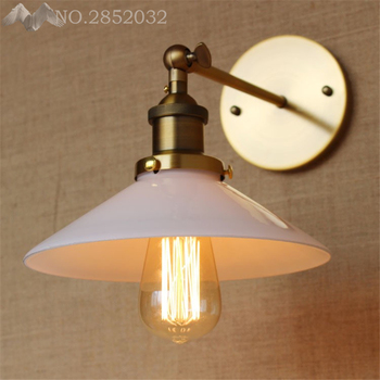 Nordic Led Wall Light  Simple Retro Lamp Bedroom Living Room Corridor Lamp Iron Art White Glass Lampshade Wall Lamp