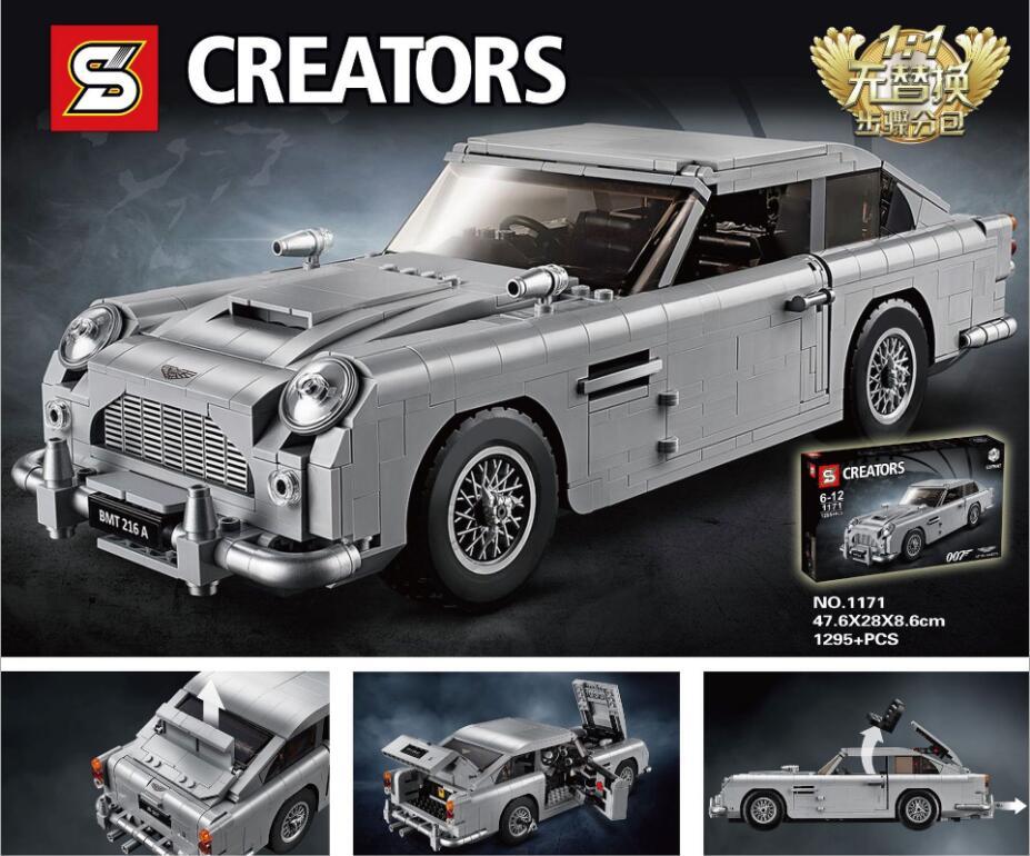 1171 1314 pièces blocs de construction 21046 série de créateurs amazmartin 007 Action de voiture assembler des briques d'apprentissage pour les enfants jouets cadeaux