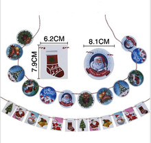 12pcs/sets Christmas pull flag small hanging Kindergarten shop atmosphere layout decoration banner