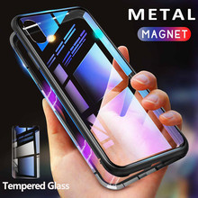 Metal Magnetic Case for iPhone 11 XR XS MAX X 8 Plus 7 +Tempered Glass Back Magnet Cases Cover for iPhone 7 6 6S Plus Case funda ciciber dragon ball phone case for iphone 11 pro max xr x xs max tempered glass cover cases for iphone 7 8 6 6s plus funda coque