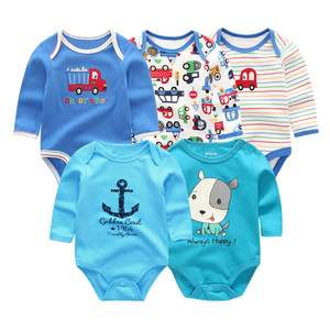 Image 4 - 2019 5pcs/lot Baby Rompers Full Sleeve Cartoon Solid Print O Neck Fashion Cotton Baby Girl Clothes Boy Clothing Roupa de bebe