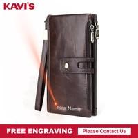 KAVIS Genuine Leather Men Wallet Male Clutch Coin Purse Walet Long Portomonee Rfid PORTFOLIO Clamp For Money Handy Fashion