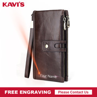 KAVIS Genuine Leather Men Wallet Male Clutch Coin Purse Walet Long Portomonee Rfid PORTFOLIO Clamp For Money Handy Fashion