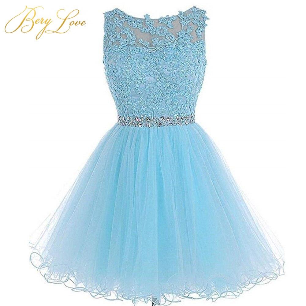 Vestido De Fiesta De Tul Azul Corto 2019 Ojo De Cerradura Mini Vestidos Para Baile De Bienvenida De Talla Grande Vestido De Graduación Promoción Corto