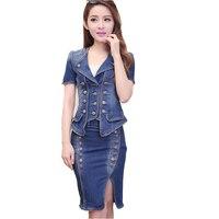Denim Suit Dress 2 Piece Set Jeans Jacket Skirt Suits Long Sleeve Short Sleeve Denim Shirts Summer Button Dress Spring Women