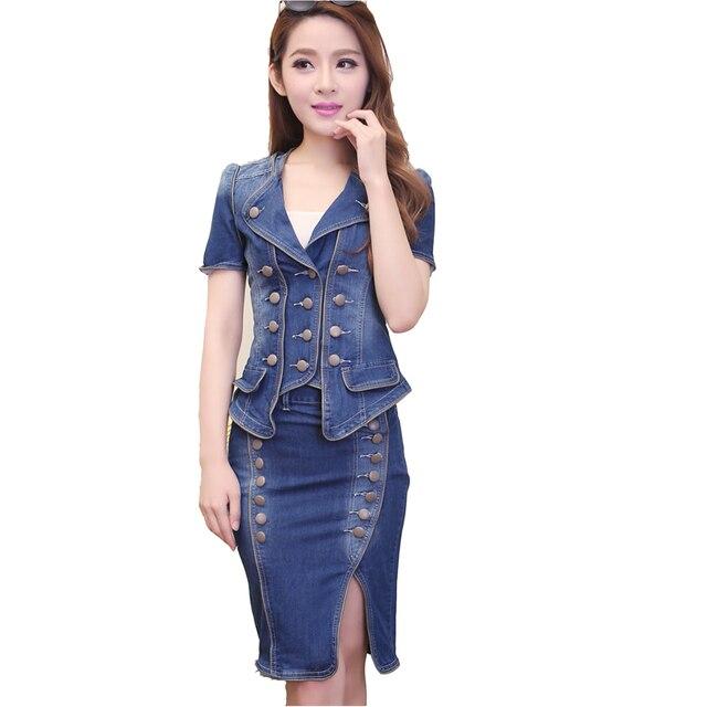 premium selection 0fc25 7a14a Tuta di jeans Vestito 2 Pezzo Set Giacca Jeans Vestiti Pannello Esterno  Manica lunga Corta Camicie in Denim Estate Button Primavera donne