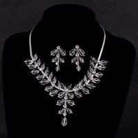Vintage Bridal Jewelry Sets Wedding 585 White Gold Plated Rhinestone Statement Necklaces Earrings Aros Parure Bijoux