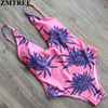 ZMTREE Newest Floral Printed Bathing Suits For Women Swimsuit Set Sexy Bandage One Pieces Swimwear Monokini
