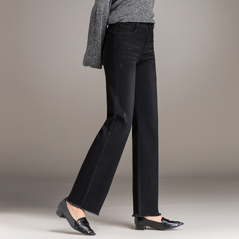 De 2019 Vaqueros Pantalones Invierno Arranque Corte Para Cintura Novio Rectos Caliente Mujer Tamaño Otoño En Alta Plus Negro E4w4p1q