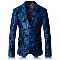 2018 Burgundy Red Floral Blazer Men Print Pattern Wedding Stage Suit Jacket Royal Blue Velvet Blazer