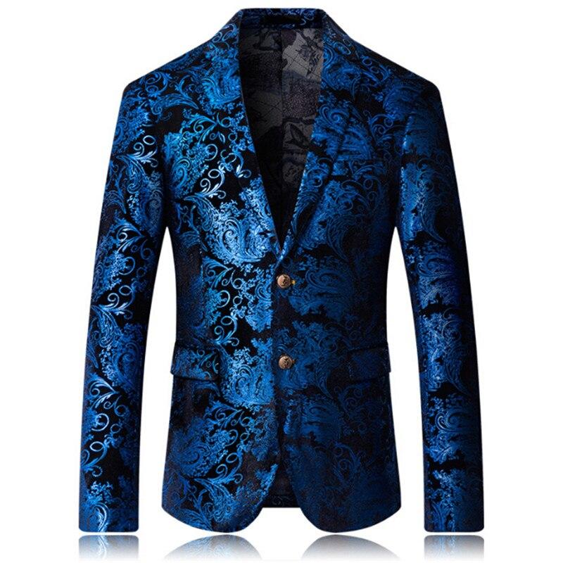 2018 Burgundy Red Floral Blazer Männer Druckmuster Hochzeit Bühne Anzug Jacke Royal Blue Velvet Blazer Slim Fit Plus Größe 4xl Um Eine Hohe Bewunderung Zu Gewinnen Und Wird Im In- Und Ausland Weithin Vertraut.