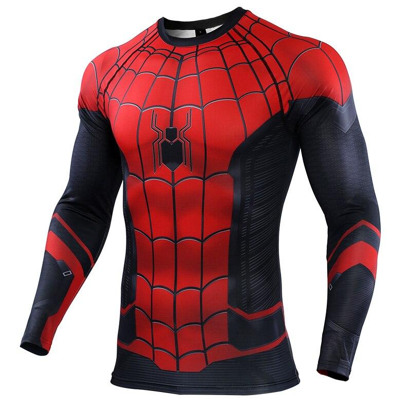 Spider-man Compression Shirt Rashguard Sport Shirt Men Print Cosplay Spiderman T-shirt Gym T Shirt Dry Fit Running Shirt Men