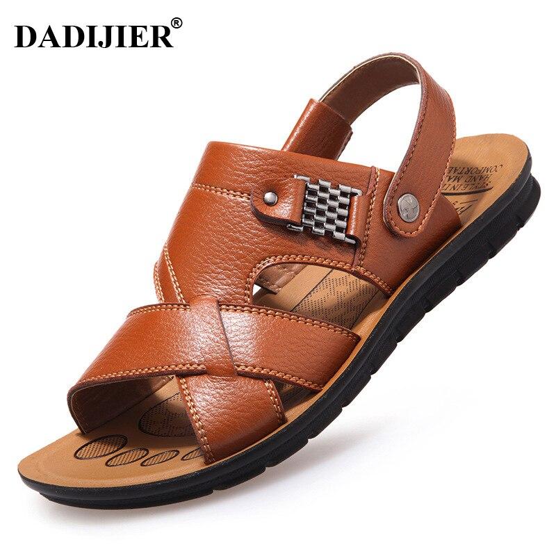 DADIJIER 2018 New Fashion Summer Men Flip Flopssandals Men Leather Shoes Casual Sandalias Hombre Men Shoes Design Sandals JH196