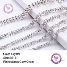 1 Yard ss16 2-Row Crystal Clear Rhinestone Claw Chain Sewing on Silver Base Trim for Decoration Garment Accessories