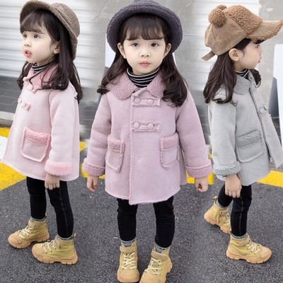 2019 Winter New Children's Jacket Girls Coat Baby Korean Double breasted Suede Cashmere Thick Coat Tide Toddler Girls Jackets