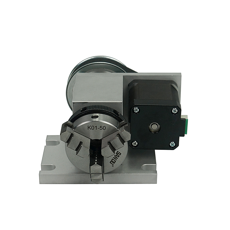CNC Machine Part Tools 50mm Chuck A Axis Rotation Center Height 44MM 3 Claw 4th Axis with Tailstock Thimble