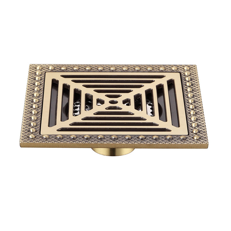Vintage Copper 15 x 15cm Square Bathroom Shower Drain Brass Floor Drain Trap Waste Grate Drainer