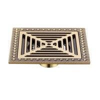 Vintage Copper 15 x 15cm Square Bathroom Shower Drain Brass Floor Drain Trap Waste Grate Drainer 6 inch Wholesale & Retail