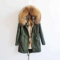 2018 90 см модные женские с натуральным кроличьим мехом внутри зимняя куртка, пальто натуральный Лисий мех воротник с капюшоном Длинные парки