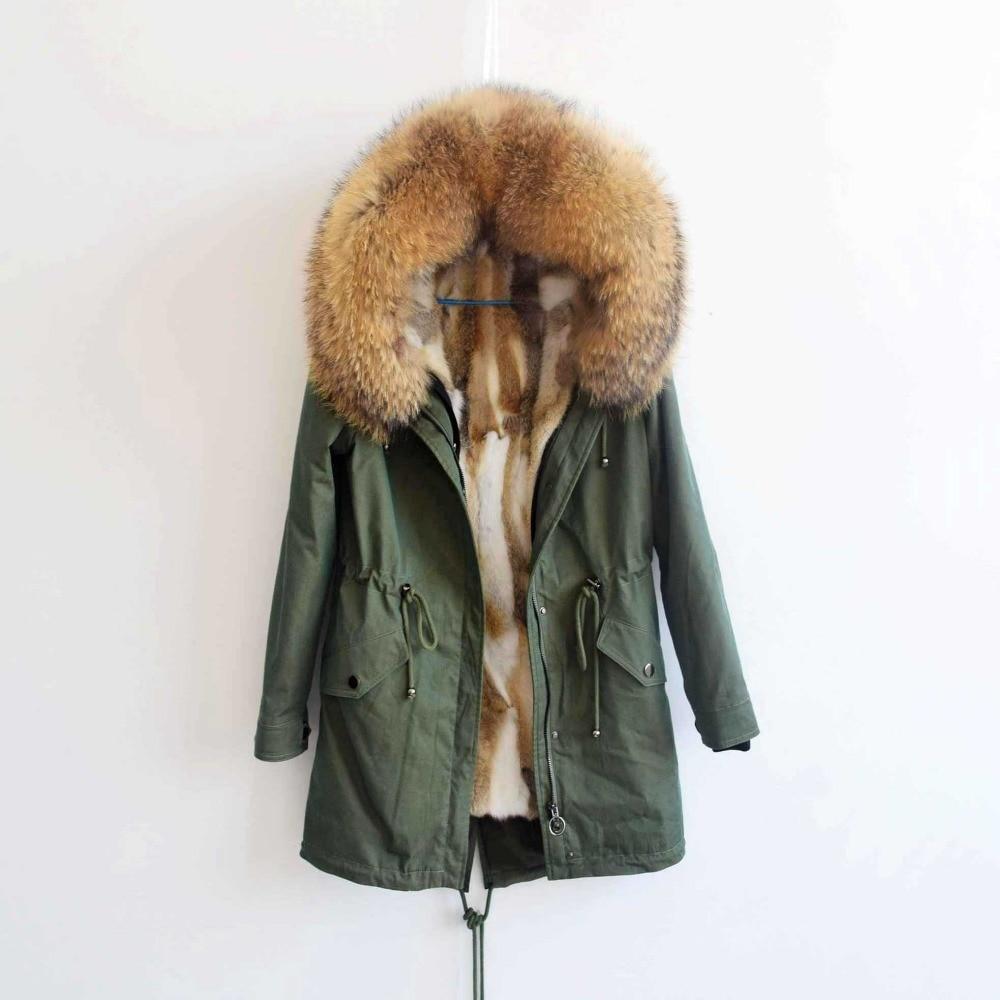2018 90 cm delle donne di Modo reale della pelliccia del coniglio del rivestimento di inverno del cappotto del rivestimento naturale collo di pelliccia di volpe con cappuccio lungo parka outwear DHL