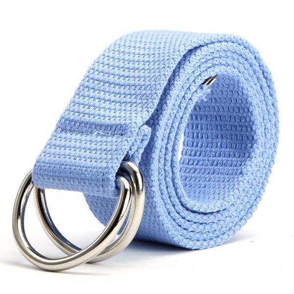Femmes hommes toile ceintures anneaux Double boucle ceinture Strap ceintures  10 couleurs d672ee18414