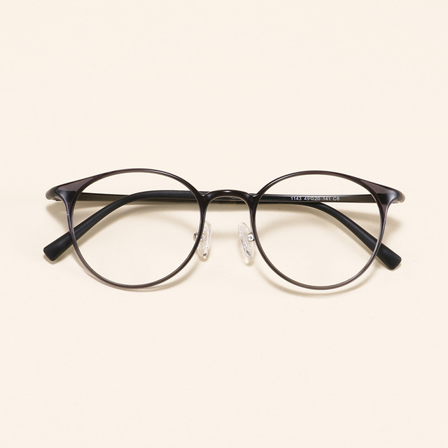 81a379425d0 Round Retro Ultra-light Slim Tungsten Carbon steel Prescription Frame  Student Decoration Myopia Eyeglasses Eyewear Big face